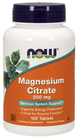 NOW - MAGNESIUM CITRATE 200 МГ - 100 ТАБЛЕТКИ Код на продукт: NF1290