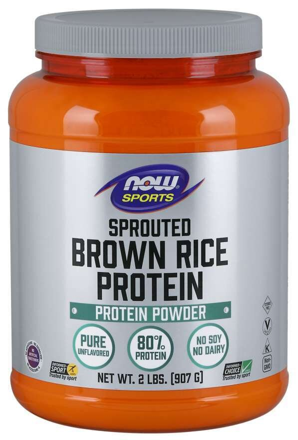 NOW SPORTS - RICE PROTEIN BROWN SPROUTED - UNFLAVORED - 2 LB